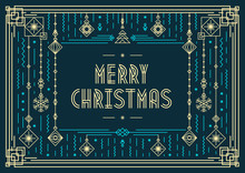 Christmas Card Modern Typography And New Year Toys Art Deco Neon Style On Holiday Background For Poster, Greeting Banner, Invitation, Party, Flyer, Sale. Vector 10 Eps