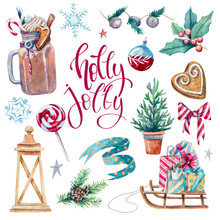 Bright Set Of  Watercolor Holiday Elements
