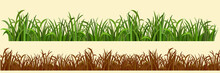 Cartoon Grass In A Row In Two Variations