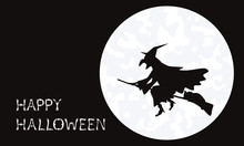 Silhouette Of A Witch Flying On Her Broom With A Cat In Halloween On A Full Moon Night.