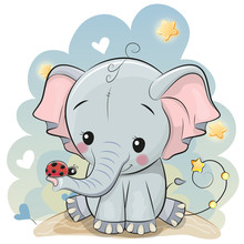 Cute Cartoon Elephant With Lad...