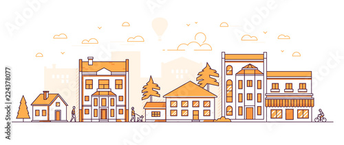 Fototapeta City block - modern thin line design style vector illustration obraz