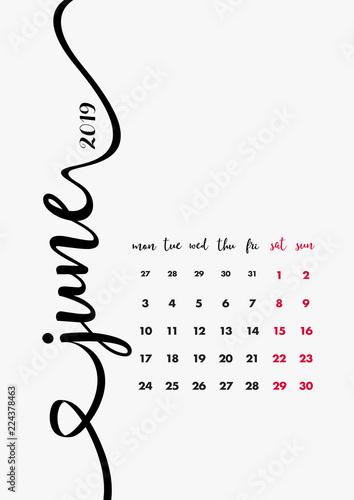 Calendar 2019 Design Page 6 Of 12 Month June 2019 12 Months