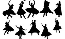 Kathak Dance Svg, Indian Dance Cricut Files,  Black Dancer Silhouette Vector Clipart, Illustration, Eps, Overlay