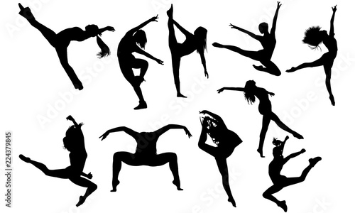 Obraz na plátně  Jazz Dance svg, dance cricut files,  black dancer silhouette Vector clipart, ill