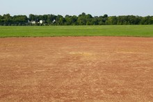 A View Of The Dirt Infield And The Pitchers Mound At The Field.