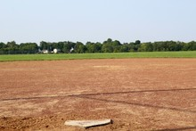 A View From Behind Home Plate On The Baseball Field.