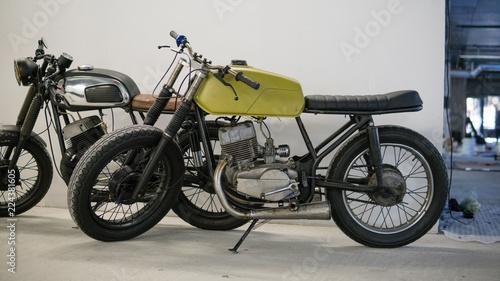 Fotobehang Fiets culture of custom motorcycles. Varieties of styles and formats of motorcycles.