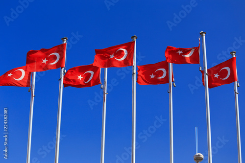Poster Turkije The national flags of Turkey against the blue sky