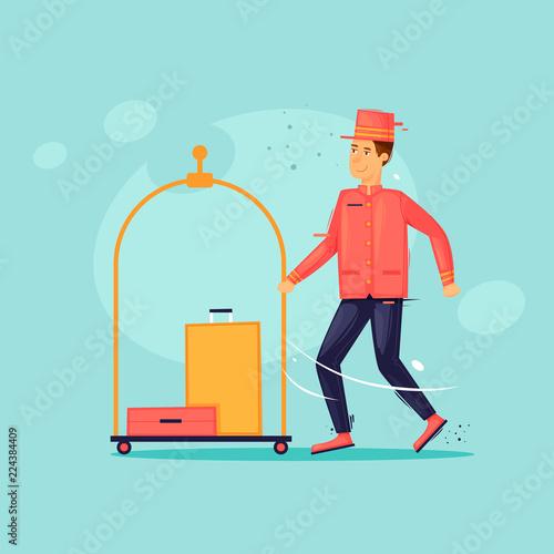 Cuadros en Lienzo Bellboy carries suitcases
