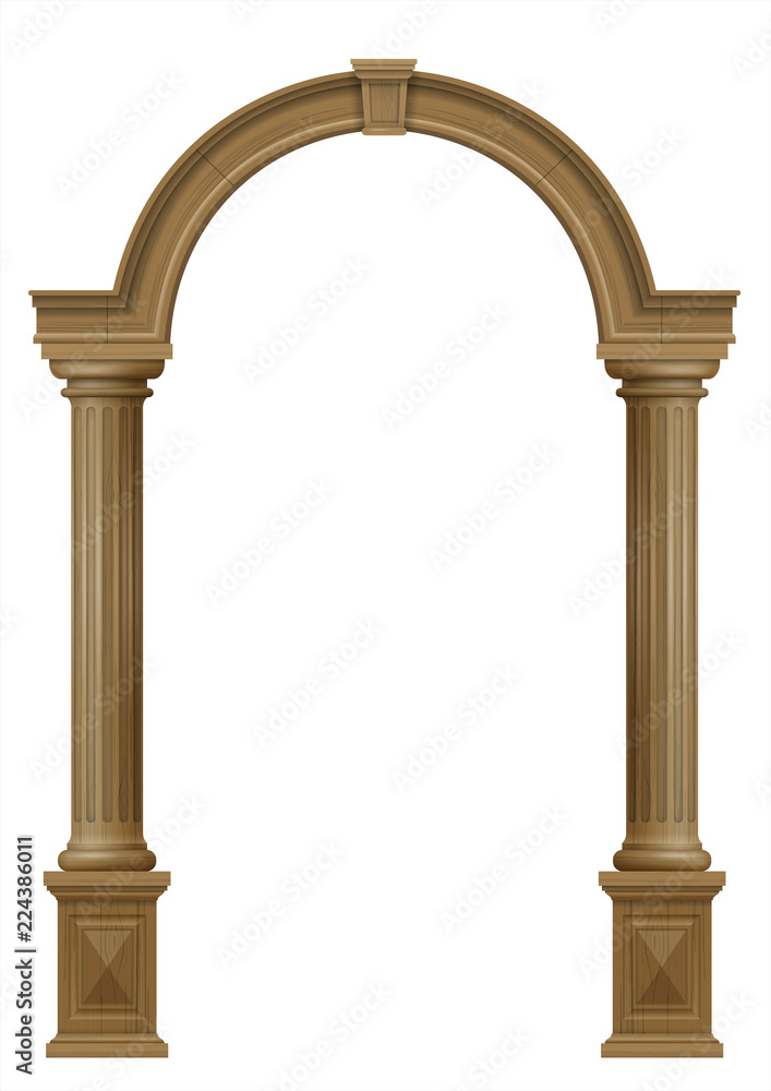 Photo  Wooden arch of portal door with columns