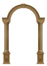 Wooden Arch Of Portal Door With Columns