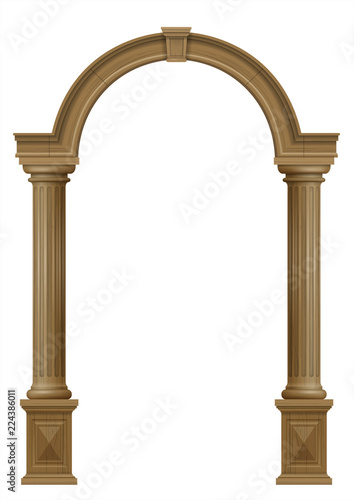 Photo  Wooden arch of portal door with columns