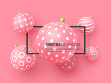 Christmas Pink Baubles With Geometric Pattern. 3d Realistic Style With Black Frame, Abstract Holiday Background. Vector Illustration.