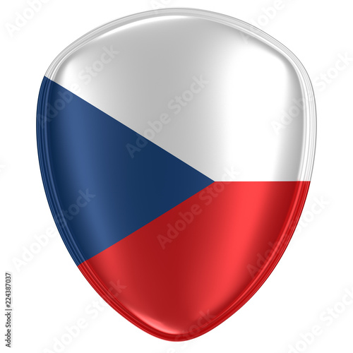 Photo  3d rendering of a Czech Republic flag icon.