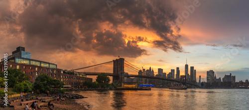 View to Manhattan Skyline form Brooklyn Bridge Park Wallpaper Mural