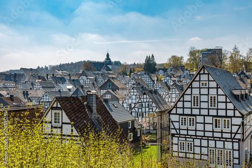 Fotografia  Historische Fachwerkhäuser in der Altstadt von Freudenberg in Nordrhein-Westfale