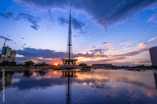 Canvas Prints American Famous Place Brasilia TV Tower at sunset - Brasilia, Distrito Federal, Brazil
