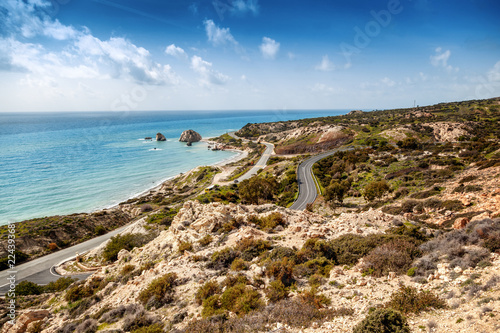 Beautiful seascape, blue sea and sky, popular destination for summer holidays in Europe, Cyprus, Aphrodite Hills
