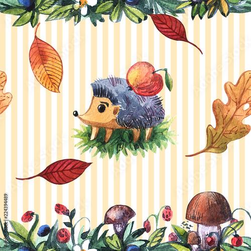 Foto op Aluminium Vogels in kooien Beautiful hand drawn watercolor seamless pattern with hedgehog