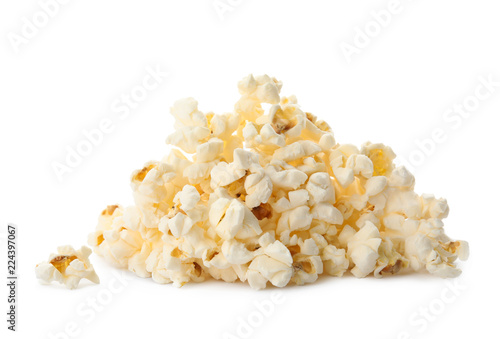 Stickers pour porte Graine, aromate Pile of delicious fresh popcorn on white background