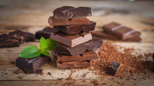 Close-up Of Stacked Dark And Milk Chocolate With Fresh Mint On Wooden Background