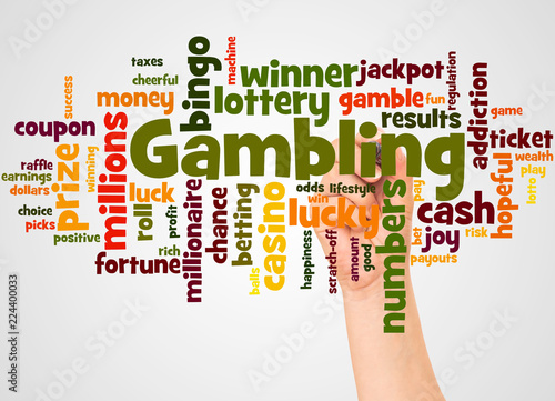 фотография  Gambling word cloud and hand with marker concept