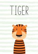 Cute Little Tiger. Poster, Card For Kids