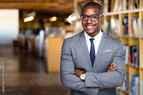 Tableau sur Toile Smiling and cheerful African american business professional, attorney at law off