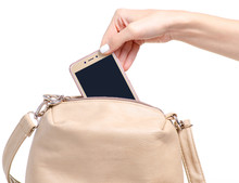 Female Beige Leather Bag In Hand Smartphone Mobile Phone On White Background Isolation