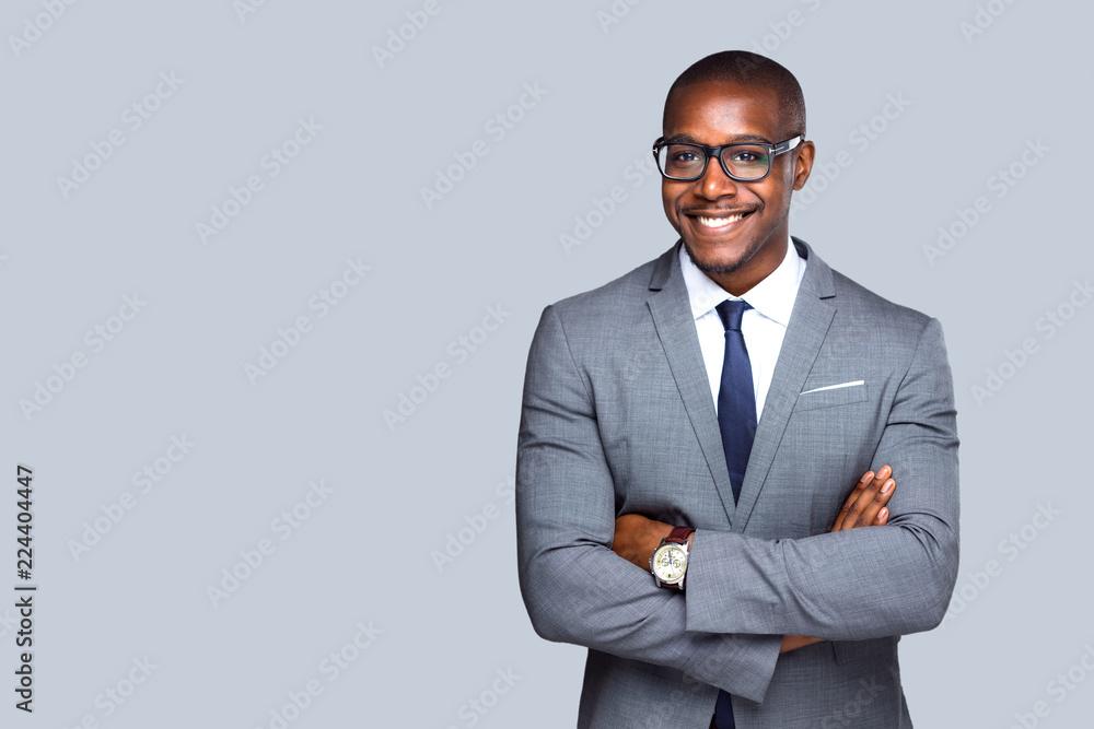 Obraz Friendly isolated portrait of african american business man, sales, representative  fototapeta, plakat