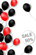 Black friday sale background with balloons. Modern design. Universal background for poster, banners, flyers, card