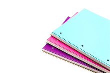 Top View Studio Shot Three 1-subject Notebooks Isolated On White Background. Colorful Assortment Classroom Classic College-ruled Notebooks With 3-hole Punched To Fit Standard Binder, Back To School