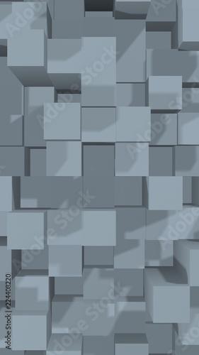 Abstract gray elegant cube geometric background. Chaotically advanced rectangular bars. 3D Rendering, 3D illustration © Plastic man
