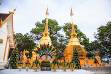 Wat Phra That Doi Tung Temple With Public Domain Has Two Golden Pagodas Or Stupas Containing Buddha's Relic, Considered As A Treasure Of Buddhism, Mae Sai, Chiang Rai, Thailand. Thai Travel Tourism.