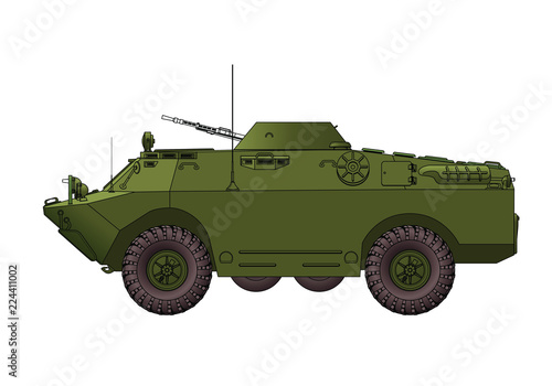Fotografiet  Soviet armored reconnaissance vehicle. Vector illustration.
