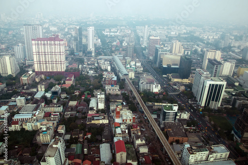 Foto op Aluminium Kuala Lumpur Aerial view of Bangkok modern office buildings, condominium in Bangkok city downtown