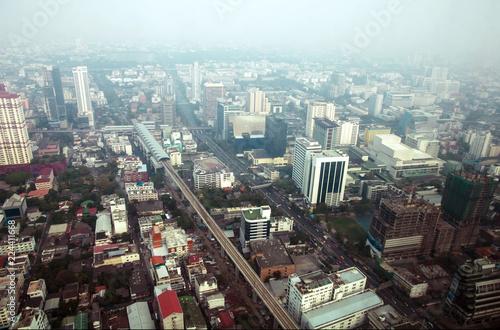 In de dag Bangkok Aerial view of Bangkok modern office buildings, condominium in Bangkok city downtown
