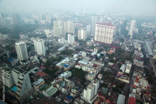 Tuinposter Bangkok Aerial view of Bangkok modern office buildings, condominium in Bangkok city downtown