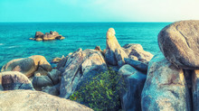 Beautiful Rock And Sea With Blue Sky At Hin Ta And Hin Yai Rocks ( Grandmother And Grandfather) In Koh Samui, Thailand