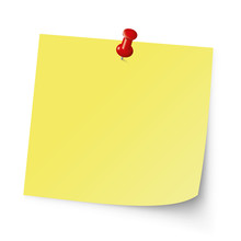 Post Note. Reminder Note With Red Pin. Yellow Sticker. Vector