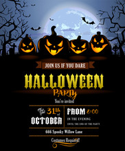 Halloween Party Invitation With Scary Pumpkins
