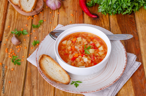 Fotografie, Obraz  Spicy soup with red lentils, tomatoes, leek, bell pepper, carrots and potatoes