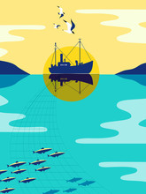 Ship Silhouette On Calm Ocean Water. Fishermen Boat, Industrial Vessel Fishing For Herring. Seagulls Fly In Sky. Pop Art Style. Flat Simple Minimal Design. Nautical Vintage Poster. Vector Illustration