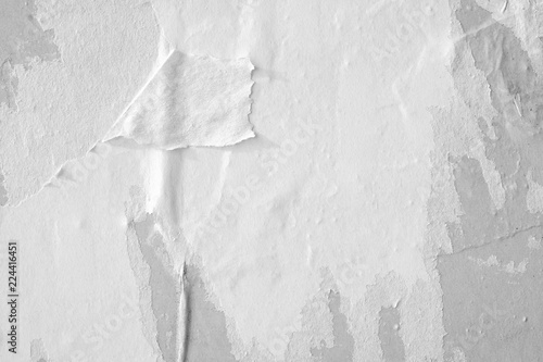 Obraz White paper ripped torn background blank creased crumpled posters placard grunge textures surface backdrop / Space for text  - fototapety do salonu