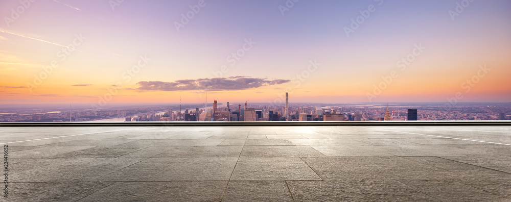 Fototapety, obrazy: empty floor with modern cityscape in new york