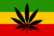 Rastafari Flag With Cannabis L...