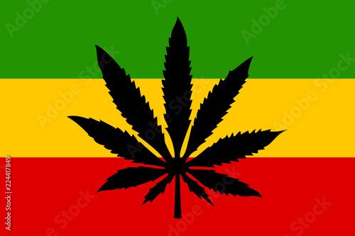 Fotografie, Obraz Rastafari flag with cannabis leaf