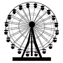 Silhouette Atraktsion Colorful Ferris Wheel On White Background Illustration