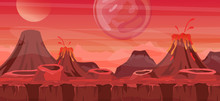 Vector Illustration Of Beautiful Alien Landscape. Cool Another World Background For Game Design, Alien Planet In Red Colors In Flat Cartoon Style.